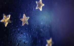 背景, 滴, 蓝色, 星号, 集中