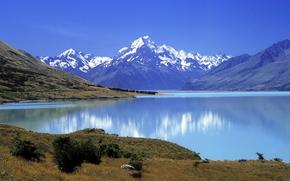 Montagne, natura, bella, superiore, снежные, a, lago, guardare., подножия
