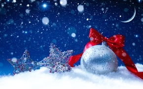 Christmas, holidays, red, pattern, Star, Christmas, Christmas, bow, New Year, white, month, Toys, snow, silver, New Year, ball