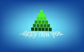 abete, Buon anno, cubetti, Verde, Capodanno, minimalismo, blu