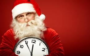 watch, New Year, beard, glasses, Santa Claus