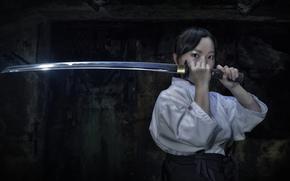 kimono, Katana, visualizzare, arma, ragazza, Asian