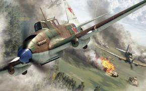 historias, WWII, колонну, немецких, plano, avión de ataque, вариант, Tanques, batalla, tanque de volar, más, en, Arte, звено, en, Ataque, двухместный, pantera, masa