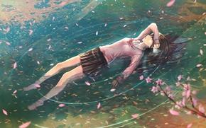 ветви, слезы, письмо, школьница, лепестки, арт, вода, аниме, девушка, сакура