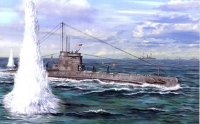передача сигналов, сигнальщики, матросы, выстрелы, рисунок, американская, корабли сопровождения, конвой, взрывы, арт, подводная лодка