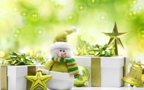 doni, Capodanno, pupazzo di neve, Stella, Capodanno, Natale, Palloncini, verde, Natale, Giocattoli