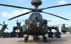 середины, с, вертолет, боевой, ударный, США, армии, Апач, основной