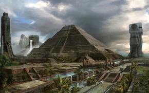 город, арт, пирамида, пальмы
