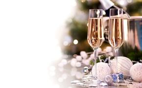 节假日, 新年, 高脚杯, 新年, 圣诞节, 香槟酒, 白, 气球, 玩具, декорации, 圣诞节