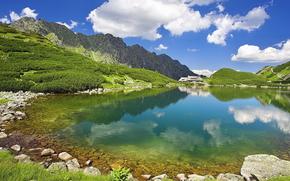 прозрачная, лето, вода, небо, горы, озеро, природа, далеке, в, домик.