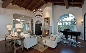 interno, дом-замок, stanza, progettazione, stile, caminetto