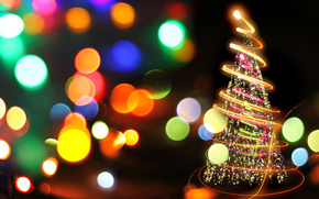 Capodanno, abete, bokeh, abete rosso, vacanze, Natale, luci, Stella, Capodanno