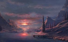 湖, 冬天, 黎明, 山, 艺术