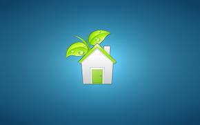 минимализм, дом, домик, дверь, листья, белый, зеленый, синий фон, растение