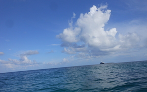 mer, ciel, nuages, paysage