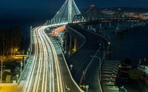 旧金山, 桥, 城市, 夜