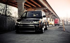 Land Rover, передок, колоны, чёрный, мост, ленд ровер, ренж ровер, ограждение