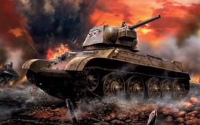 обр., WWII, ussr, тридцатьчетверка, average, battle, tank, формочка, Soviet, Art
