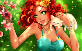 зеленые глаза, аниме, котик, девушка, рыжие волосы, дерево, лето. плеер, арт, цветы, взгляд