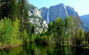 Fiume Merced, Yosemite Falls, fiume, Montagne, alberi, paesaggio