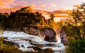 tramonto, fiume, Rocce, castello, cascata, paesaggio