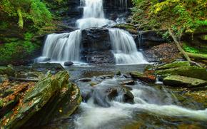 cascata, cascata, Rocce, pietre, alberi, natura