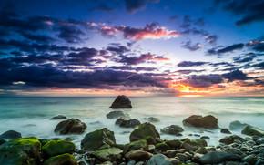 日落, 海, 石头, 岸, 景观