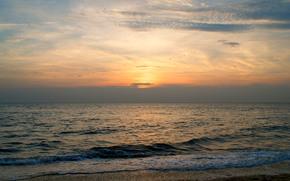 tramonto, mare, cielo, paesaggio