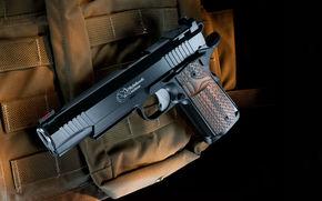 fondo, pistola, bolsa