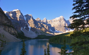 lago, Montagne, foresta, alberi, paesaggio