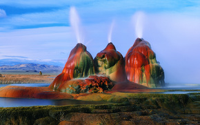 Fly Geyser, Black Rock Desert, 内华达州, 美国