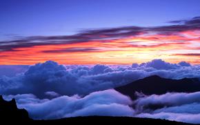 日落, 天空, 山, 云, 景观