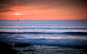 tramonto, mare, onde, paesaggio, San Diego
