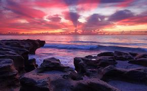 coucher du soleil, mer, Rocks, noyaux, côte, paysage