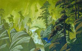 fantasia, uccello, alberi, volo, cascata, Pino, Rocce, Art, pietre