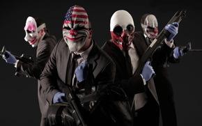 маски, грабители, игры, оружие, клоуны