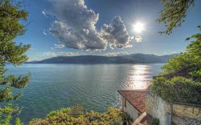 surface de l'eau, Italie, Montagnes, Варезе, nuages, Lombardie, Лаго-Маджоре, lac