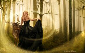 Art, Black, trees, forest, girl, magic, back, dress, animal