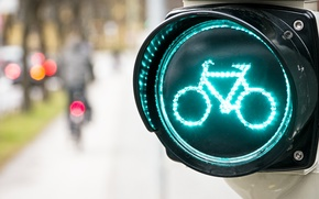 degradation, дорожный знак, fullscreen, TRAFFIC LIGHT, Widescreen, bokeh, bike, wallpaper, miscellanea, background, Widescreen