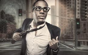 city, street, tie, suit, glasses
