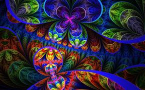 круг, цветы, кольцо, линии, лепестки, узор, симметрия, свет, радуга, листья