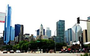 движение, высотки, здания, америка, чикаго, небо, сша, люди, машины, небоскребы, улица