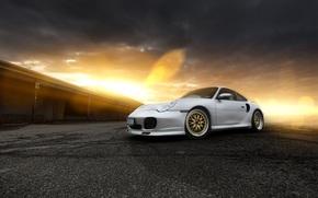 tramonto, argento, Porsche, Porsche, abbagliamento