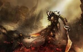armatura, Art, spada, guerriero, Rocce