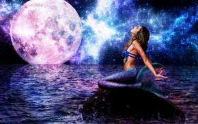 фантастика, волны, девушка, взгляд, ночь, хвост, русалка, море, большая луна