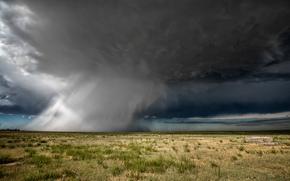 steppe, shower, field, CLOUDS