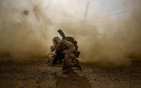 soldat, hélicoptère, armée