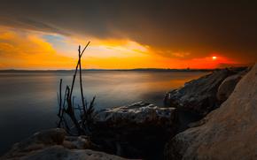 берег, солнце, закат, вечер, озеро, глыбы