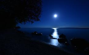 night, stones, moon, lake