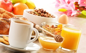 cookies, baking, курага, spoon, fruit, muesli, food, Buns, coffee, honey, breakfast, orange, juice, saucer, cup, nuts